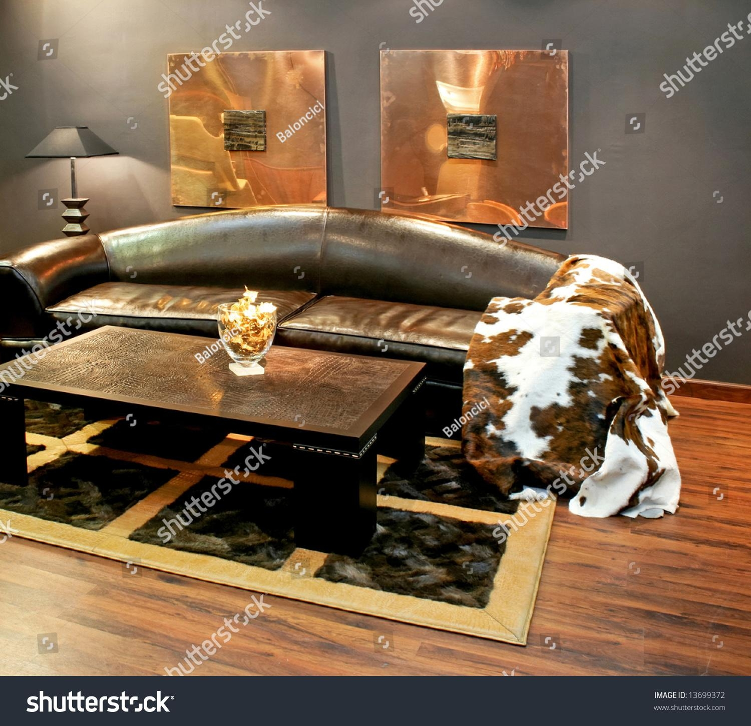 Black Leather Sofa Cowhide Cover Pillows Stock Photo 13699372 Throughout Cowhide Sofas (View 15 of 20)