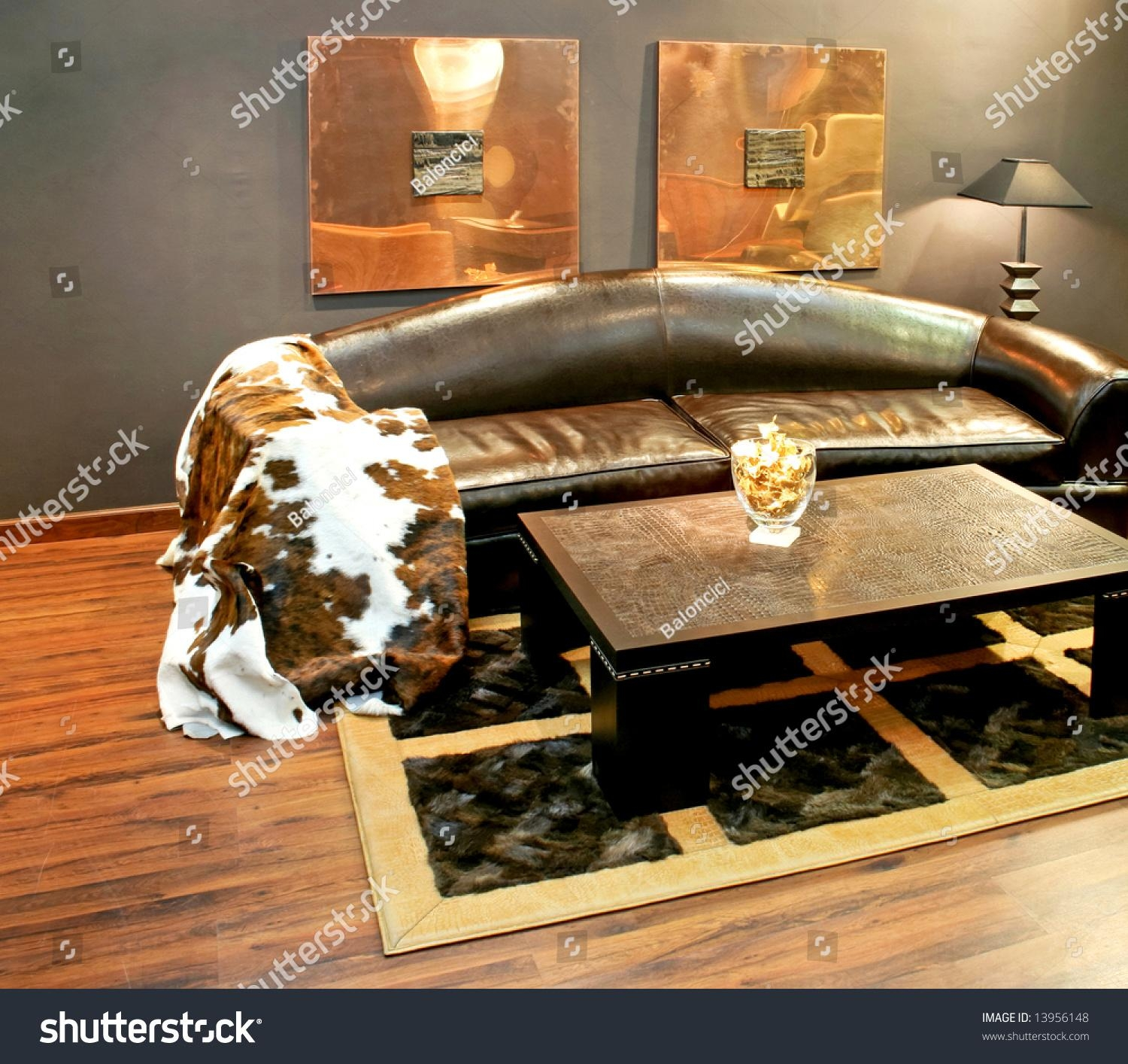 Black Leather Sofa Cowhide Cover Pillows Stock Photo 13956148 Pertaining To Cowhide Sofas (Image 2 of 20)