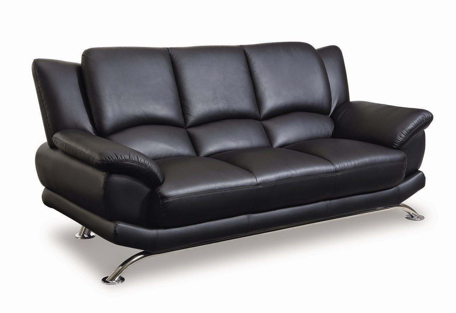 Black Leather Sofa In Black Modern Couches (Image 5 of 20)