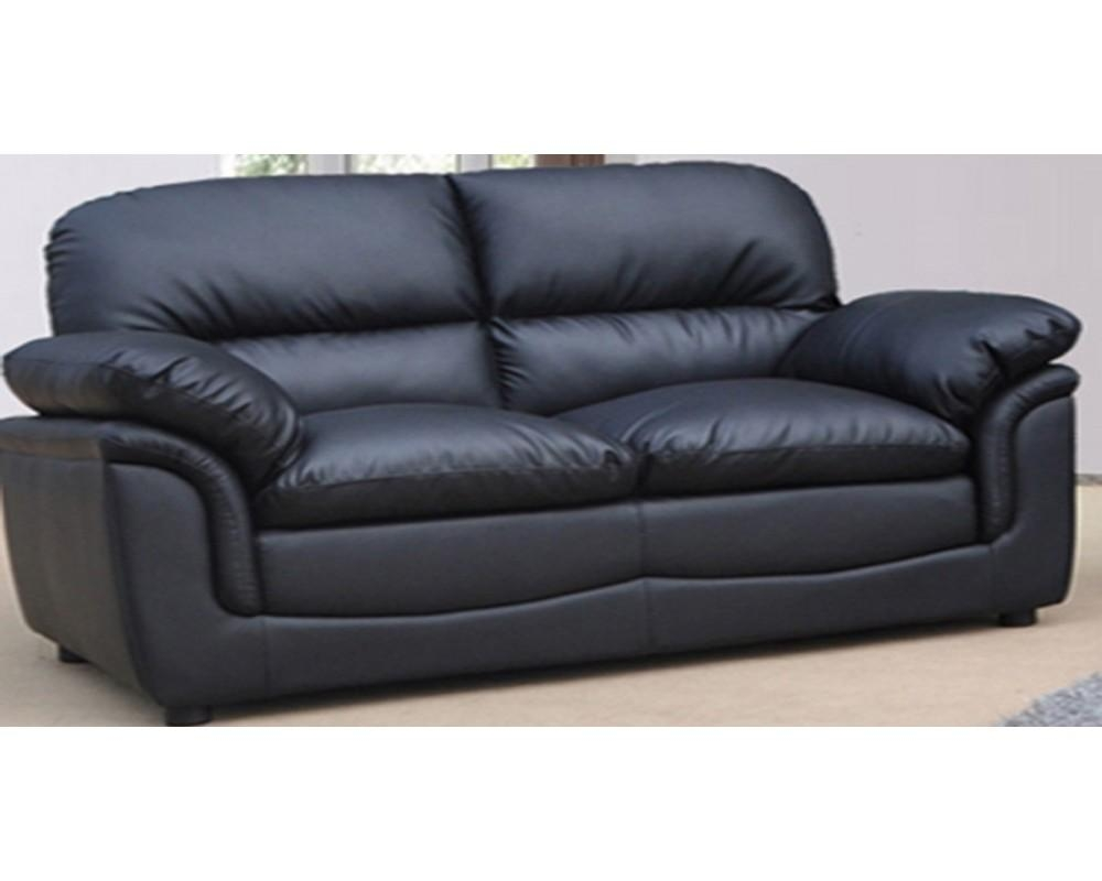 Black Leather Sofa Intended For Black 2 Seater Sofas (Image 6 of 20)