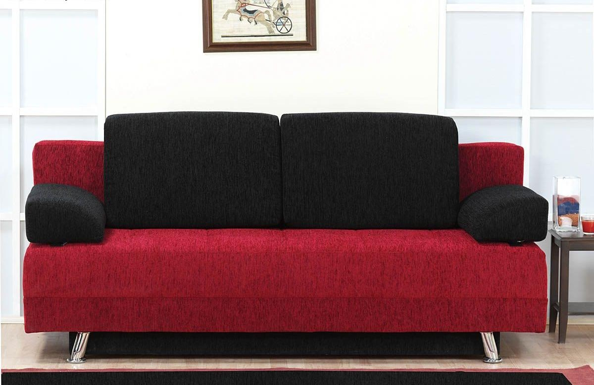 Black Leather Sofa Set Design Ideas Home Cuba Sofa Bed Black With Regard To Black And Red Sofa Sets (Image 6 of 20)