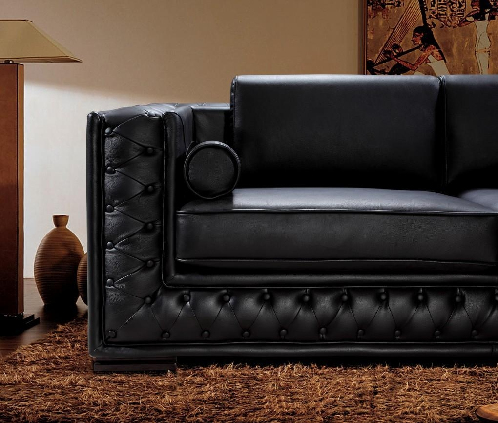 Black Leather Sofa Set He 707 | Leather Sofas Throughout Contemporary Black Leather Sofas (Image 3 of 20)