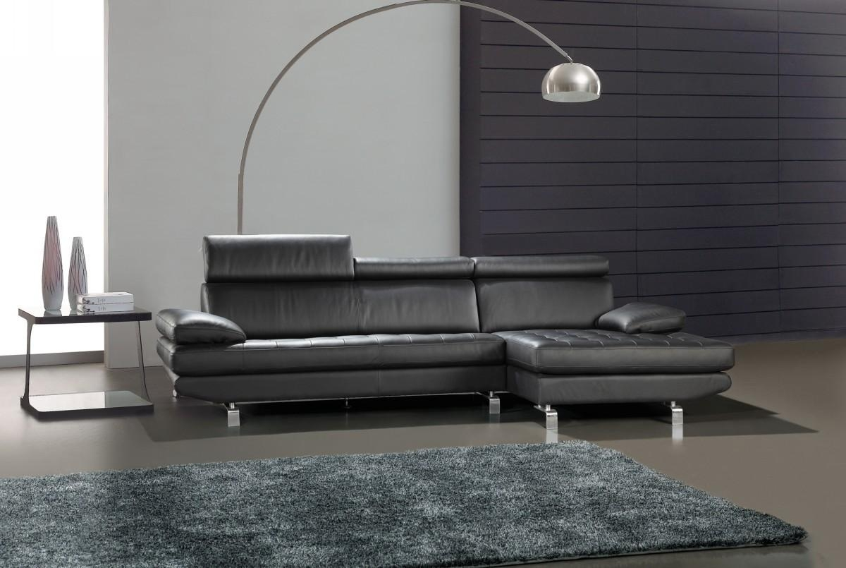 Black Leather Tufted L Shape Sectional Sofa Inside Leather L Shaped Sectional Sofas (Image 3 of 20)