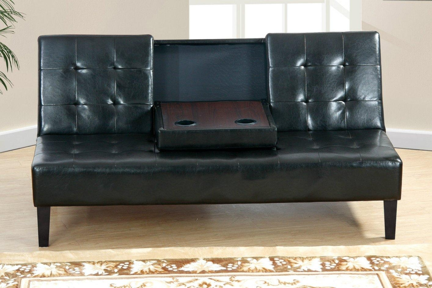Black Leather Twin Size Sofa Bed – Steal A Sofa Furniture Outlet With Twin Sofa Chairs (Image 2 of 20)