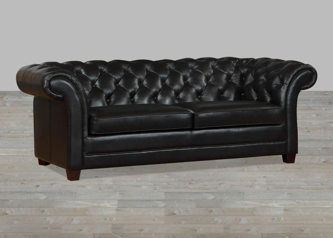 Black Leather Victoria Collection Split Sofa Within Victorian Leather Sofas (View 6 of 20)