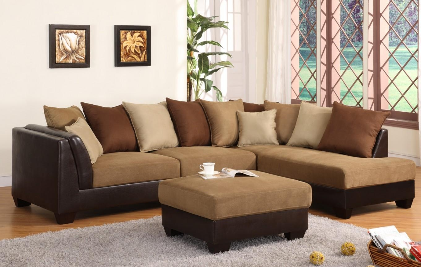Black Microfiber Sectional Sofa Within Microfiber Sectional Sofas (Image 3 of 20)
