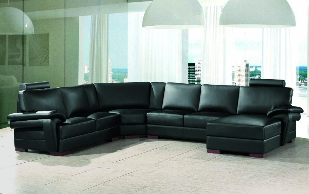 Black Modern Sectional Sofa With End Table Corner – S3Net For Black Modern Sectional Sofas (Image 2 of 20)