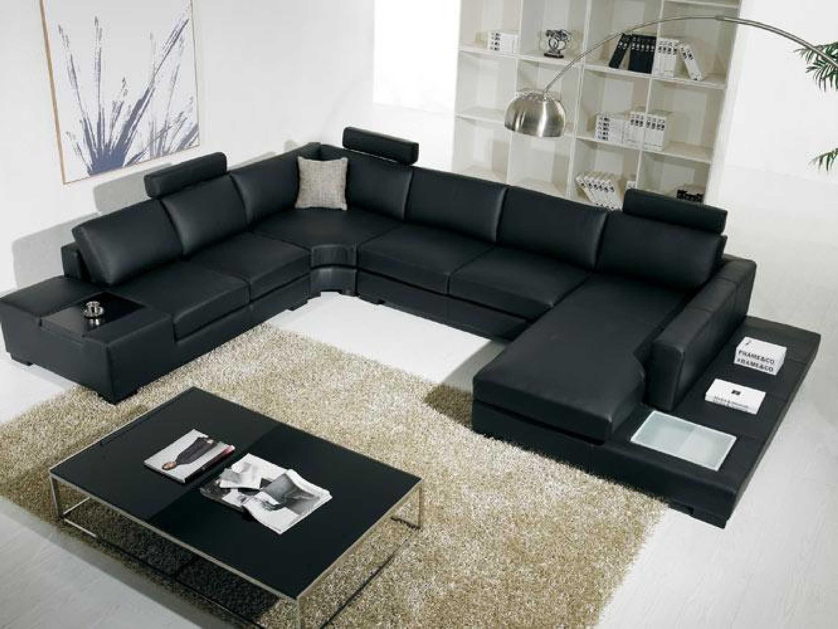 Black Modern Sectional Sofa With End Table Corner – S3Net With Regard To Black Modern Sectional Sofas (Image 3 of 20)