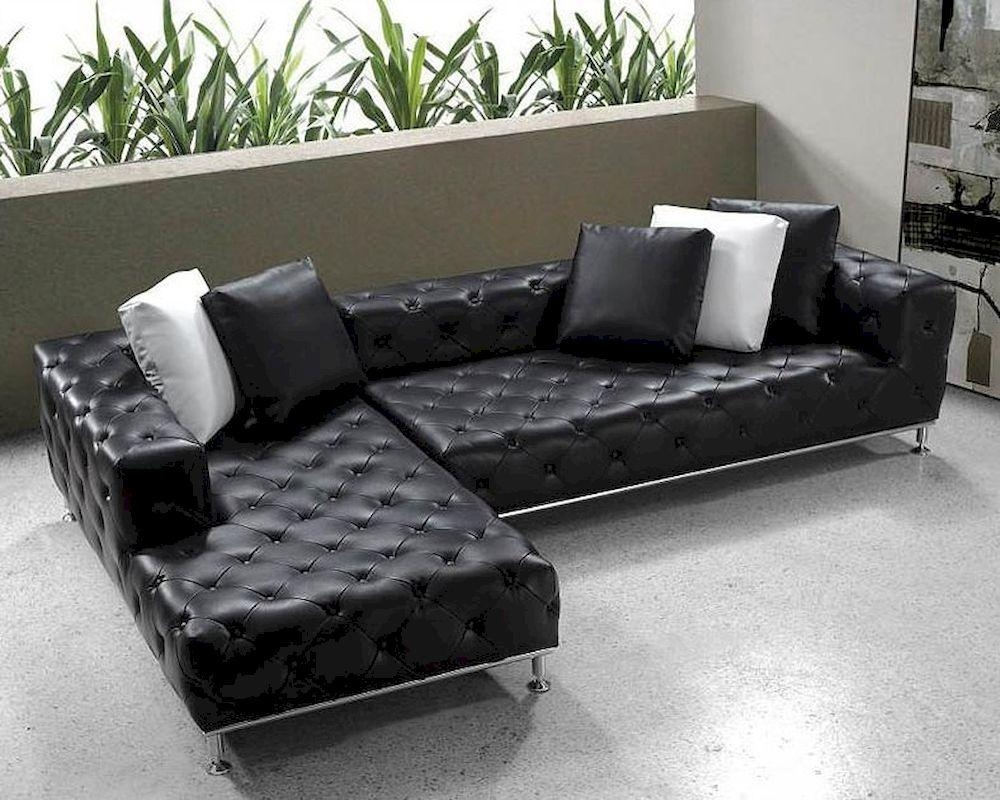Black Modern Tufted Leather Sectional Sofa Set 44L0687 Regarding Black Modern Sectional Sofas (Image 4 of 20)