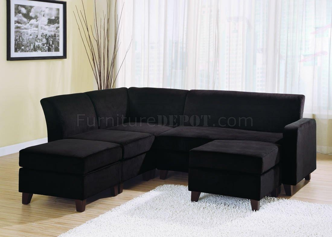 Black Sectional Sofas Within Black Microfiber Sectional Sofas (Image 3 of 20)