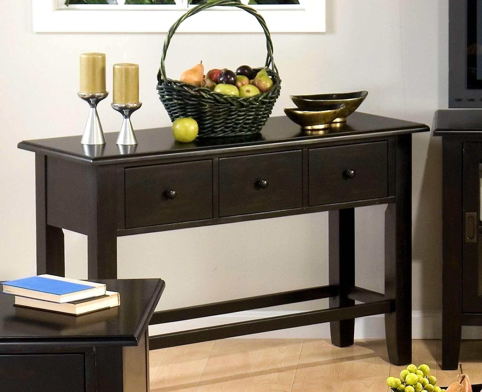 Black Sofa Table With Drawers | Sofa Gallery | Kengire With Sofa Table Drawers (Image 2 of 20)