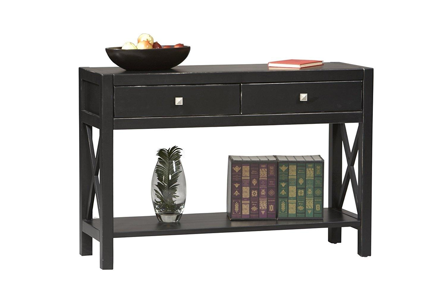 Black Sofa Table With Drawers – Video And Photos | Madlonsbigbear Inside Sofa Table Drawers (Image 1 of 20)