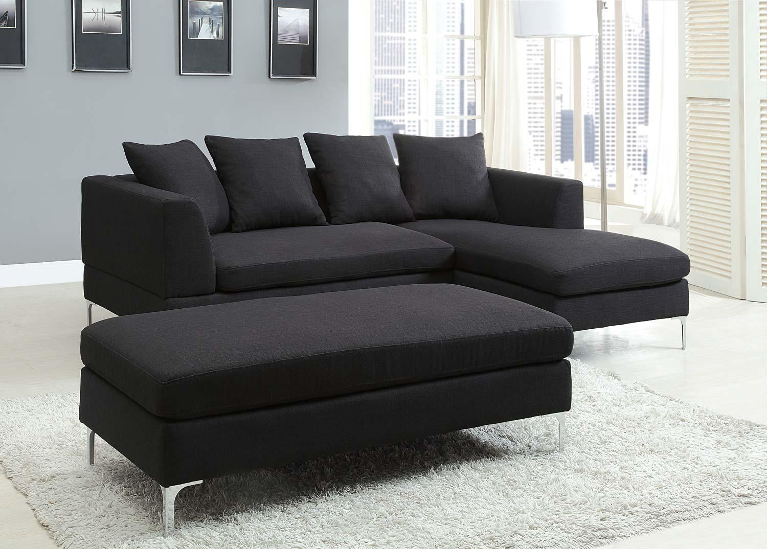 Black Suede Sectional Sofa – Leather Sectional Sofa Intended For Small Microfiber Sectional (Image 1 of 20)