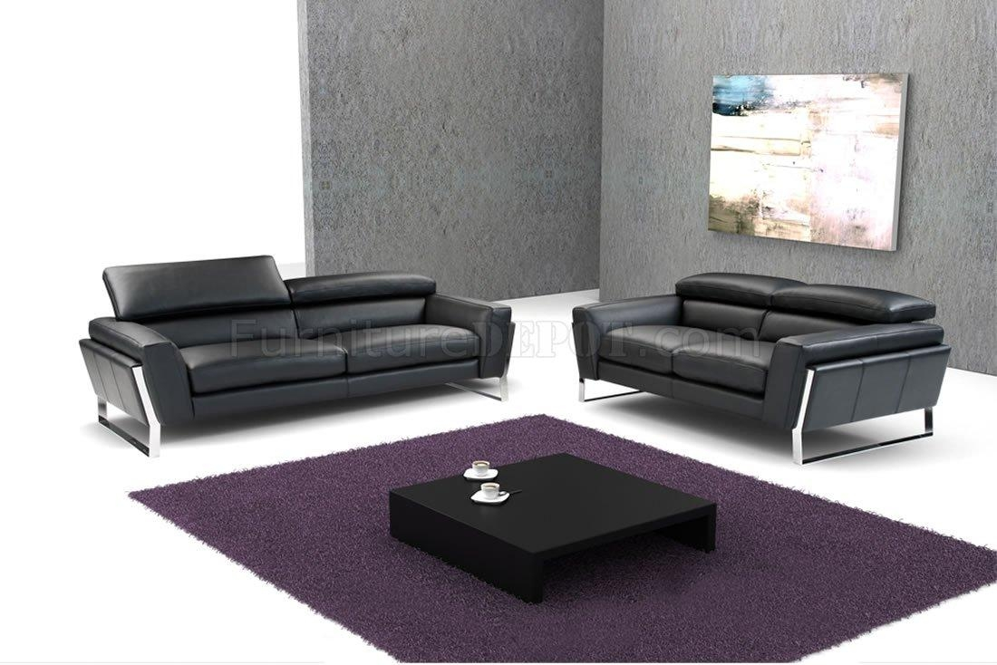 Black Top Grain Italian Leather Modern Sofa W/optional Loveseat Throughout Black Modern Couches (Image 7 of 20)