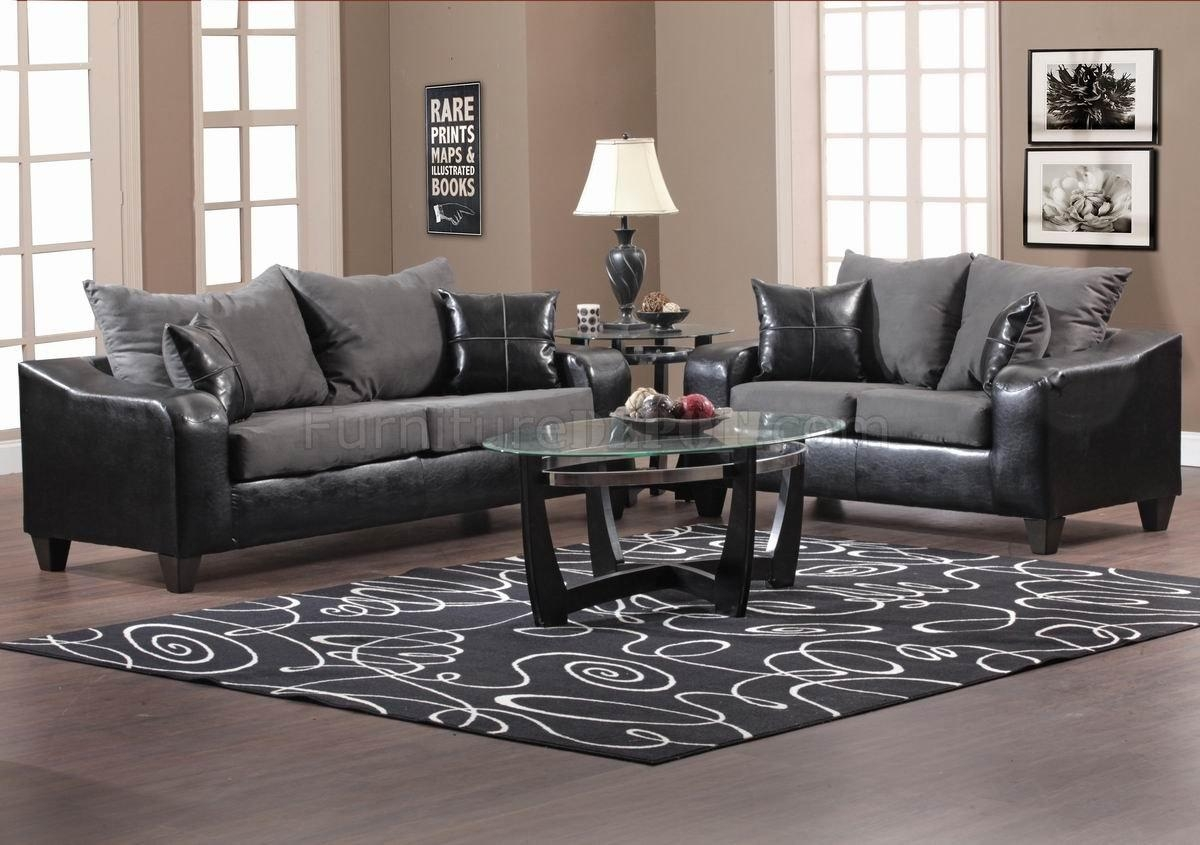 Black Vinyl And Grey Fabric Modern Sofa & Loveseat Set W/options Throughout Black Vinyl Sofas (Image 5 of 20)