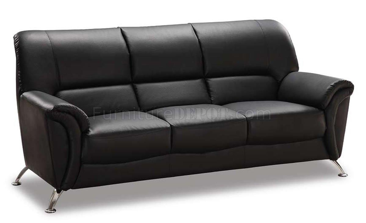 Black Vinyl Leather Modern Sofa W/chromed Metal Legs With Regard To Black Vinyl Sofas (Image 6 of 20)