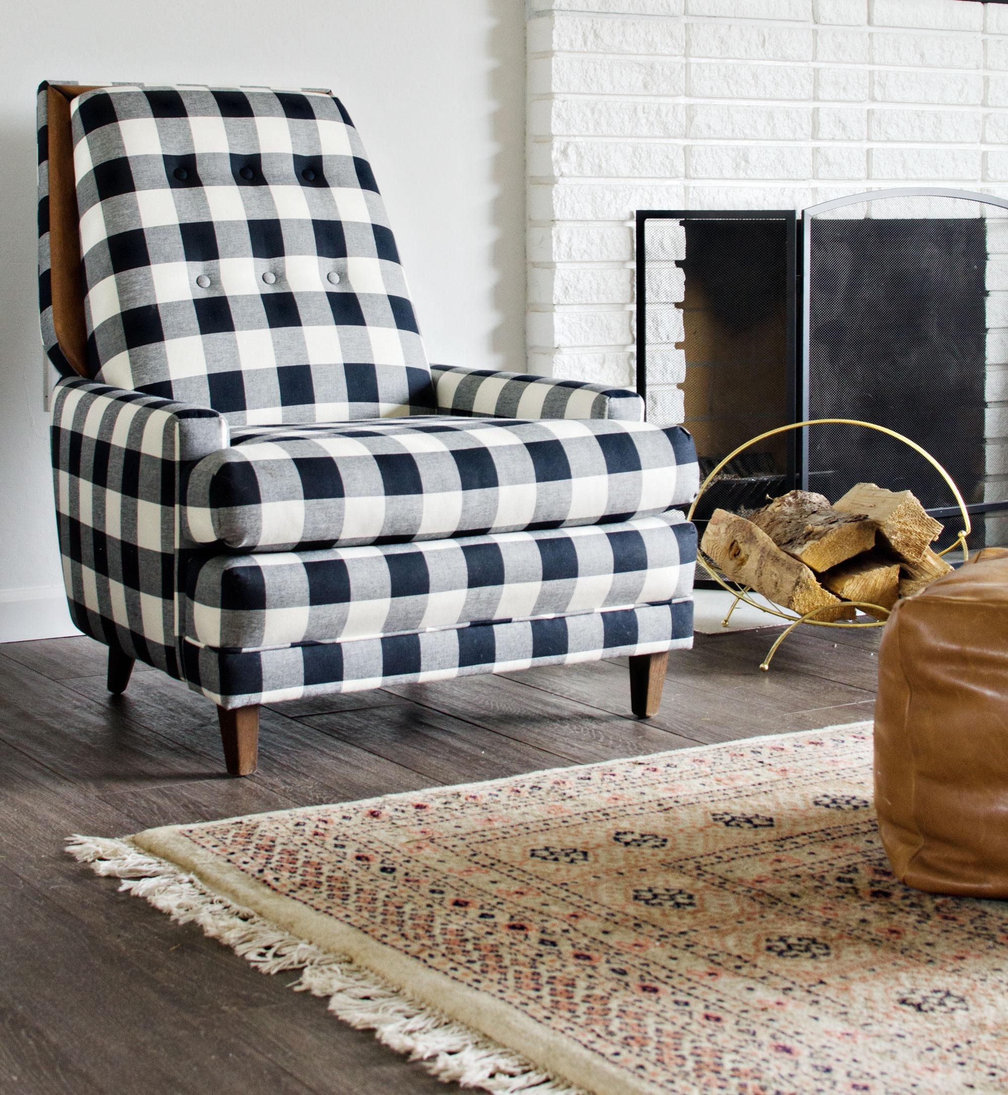 Black & White Buffalo Check Chairs – The Vintage Rug Shop The Throughout Buffalo Check Sofas (Image 6 of 20)