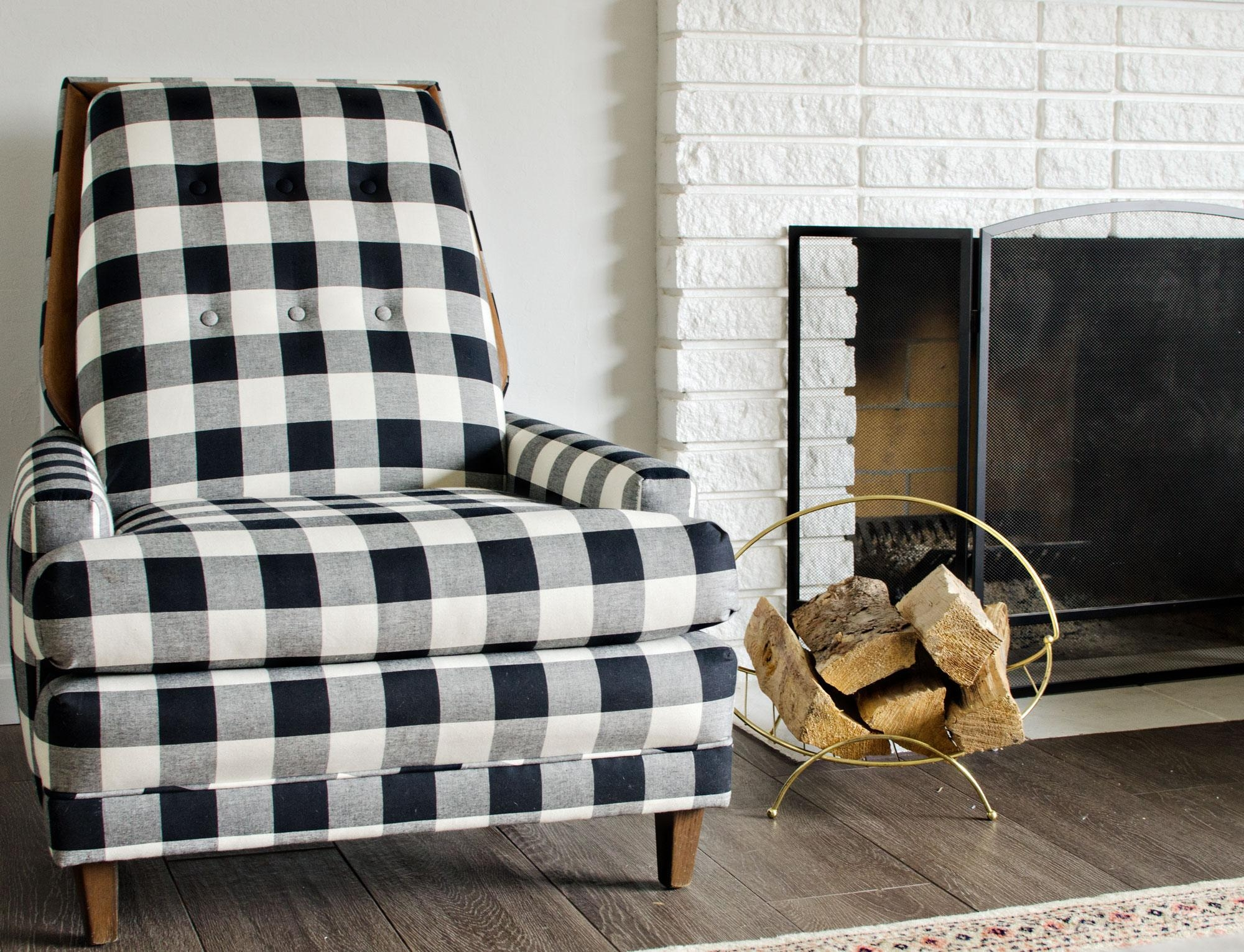 Black & White Buffalo Check Chairs – The Vintage Rug Shop The Within Buffalo Check Sofas (Image 7 of 20)