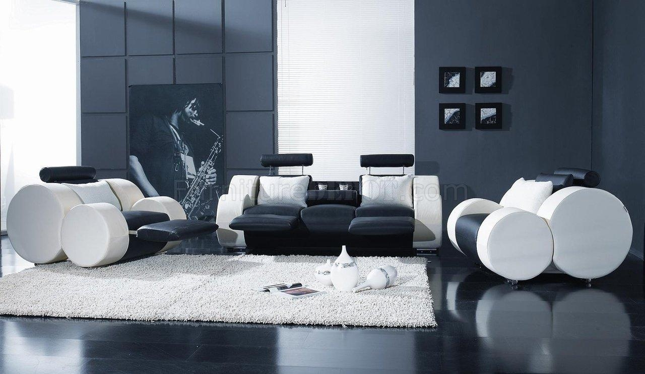 Black & White Leather Modern 3Pc Living Room Set T17 Regarding Black And White Leather Sofas (View 20 of 20)