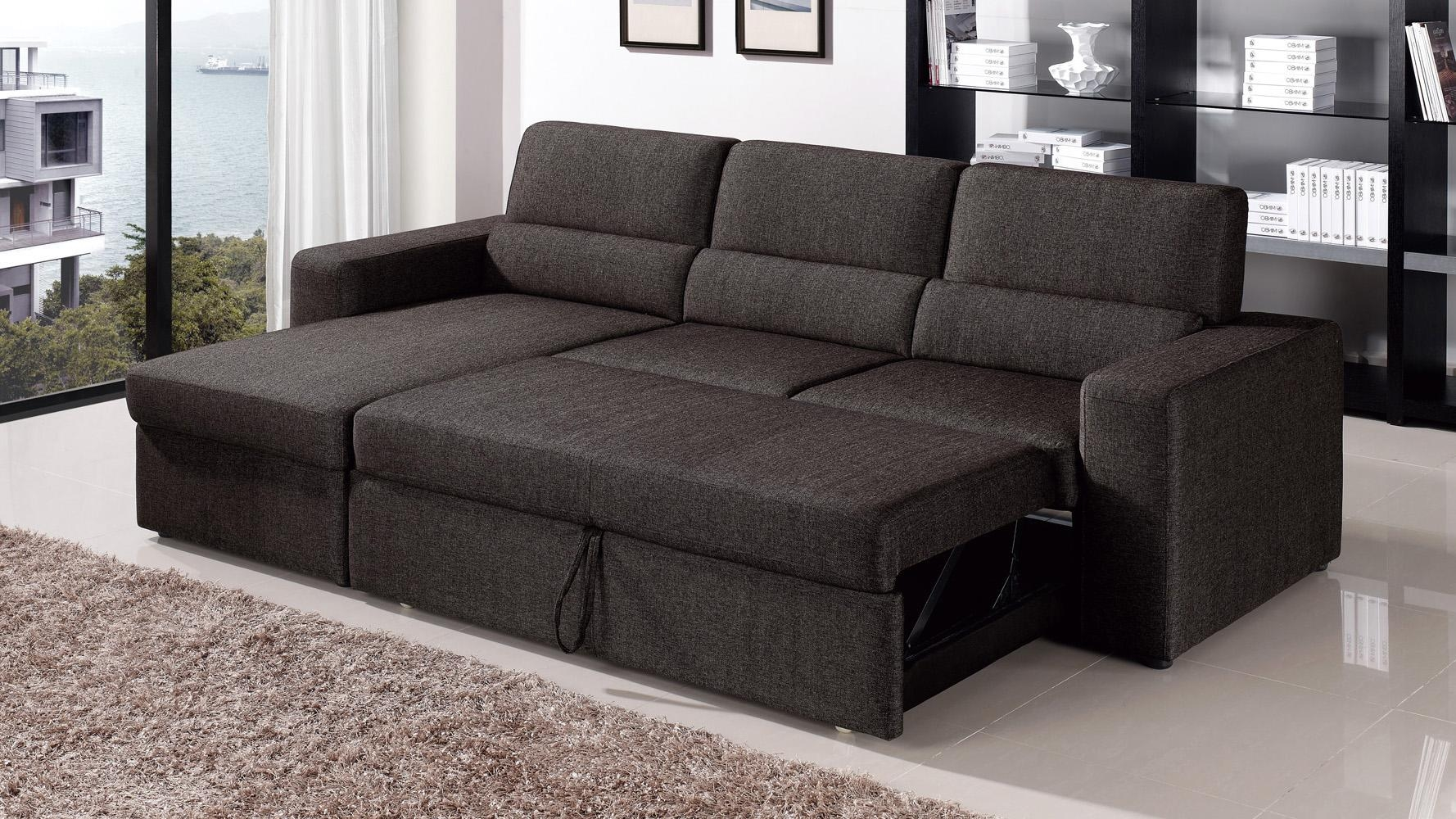 Black/brown Clubber Sleeper Sectional Sofa | Zuri Furniture Pertaining To Sectional Sleeper Sofas With Chaise (View 3 of 20)