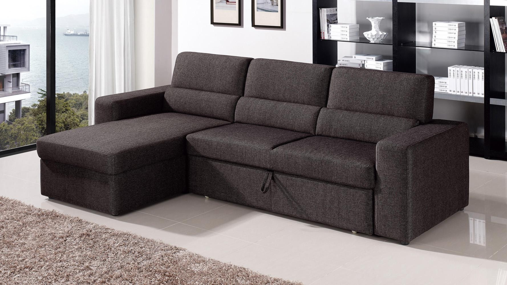 Black/brown Clubber Sleeper Sectional Sofa | Zuri Furniture Regarding Pull Out Sofa Chairs (Image 1 of 20)