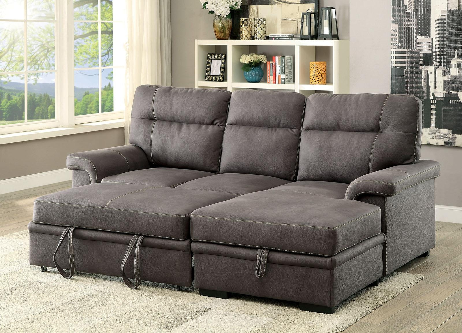 Blaire Graphite Fabric Plush Sectional W/ Pull Out Bed & Storage With Pull Out Sectional (Image 5 of 20)