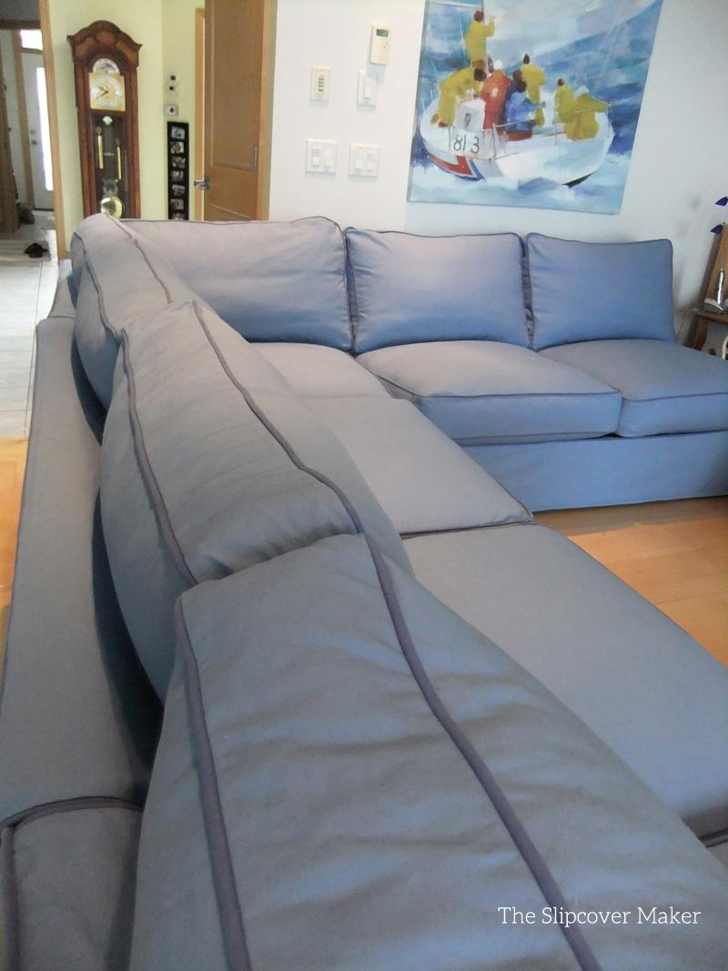 Blue Canvas Slipcover For Big Sectional Sofa | The Slipcover Maker Inside Blue Slipcover Sofas (Image 1 of 20)