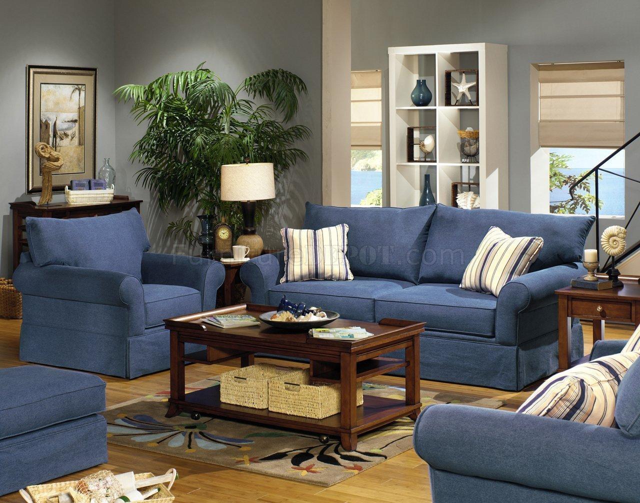 Blue Denim Fabric Modern Sofa & Loveseat Set W/options With Denim Loveseats (Image 5 of 20)