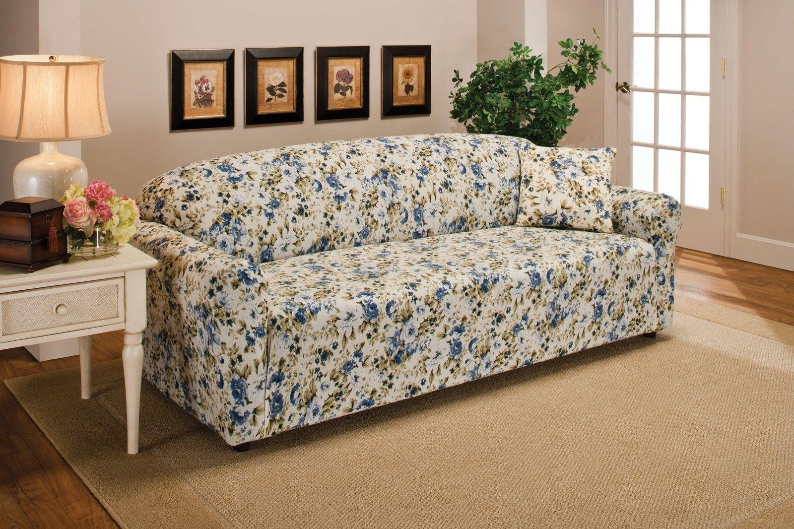Blue Floral Flower Jersey Sofa Stretch Slipcover Couch Cover Chair Pertaining To Blue Plaid Sofas (Image 3 of 20)