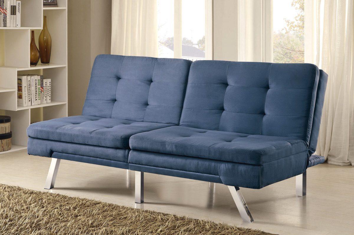 Blue Microfiber Sofa Bed Futon – Caravana Furniture Pertaining To Blue Microfiber Sofas (Image 1 of 20)