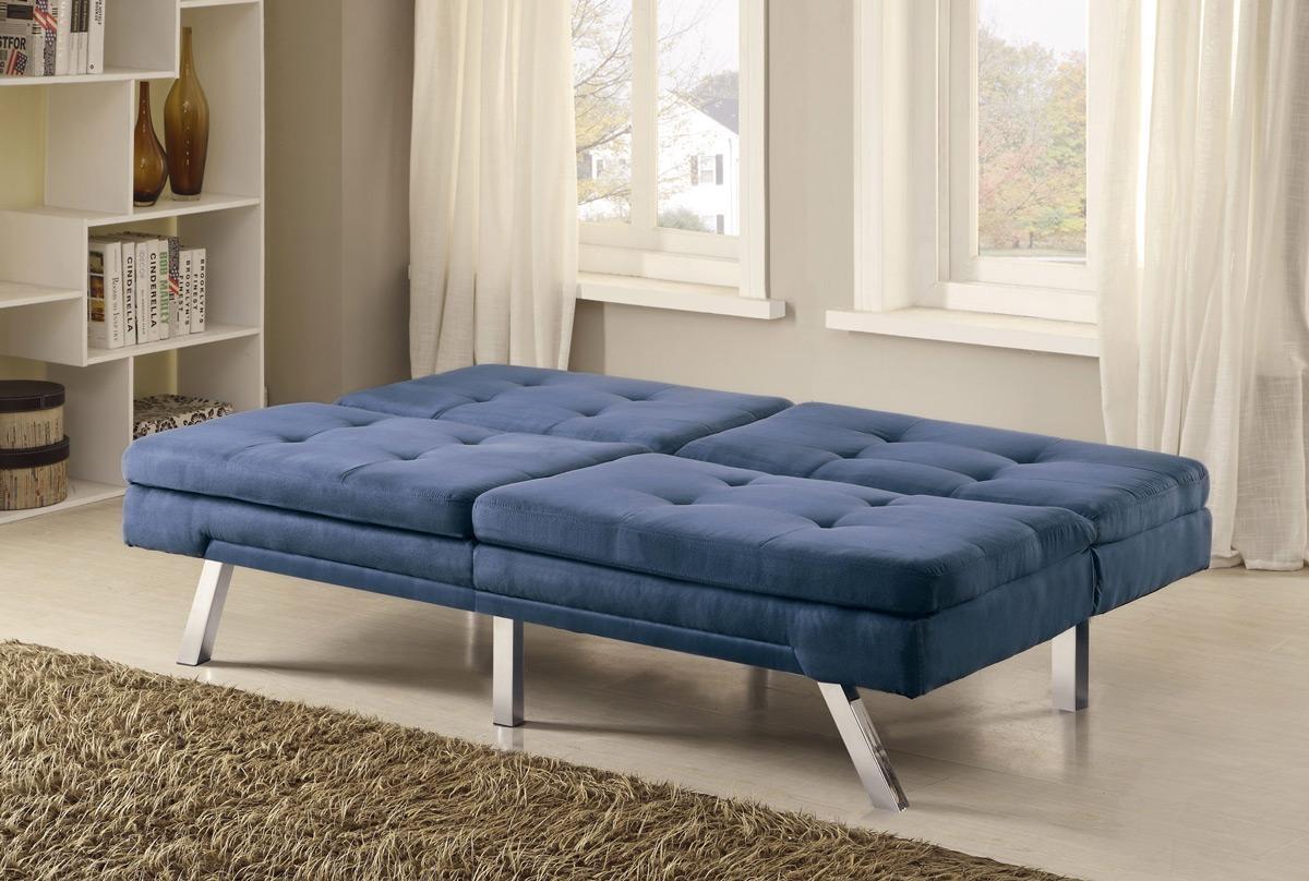 Blue Microfiber Sofa Bed Futon – Caravana Furniture Throughout Blue Microfiber Sofas (View 17 of 20)