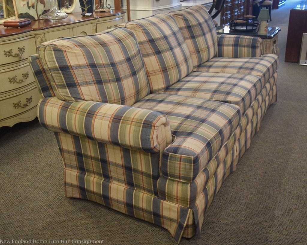 Blue & Sage Plaid Sofa | New England Home Furniture Consignment Regarding Blue Plaid Sofas (Image 2 of 20)