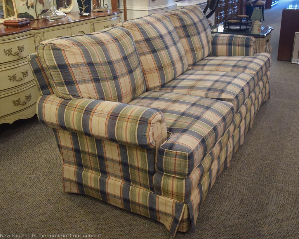 Blue & Sage Plaid Sofa | New England Home Furniture Consignment Regarding Blue Plaid Sofas (View 5 of 20)