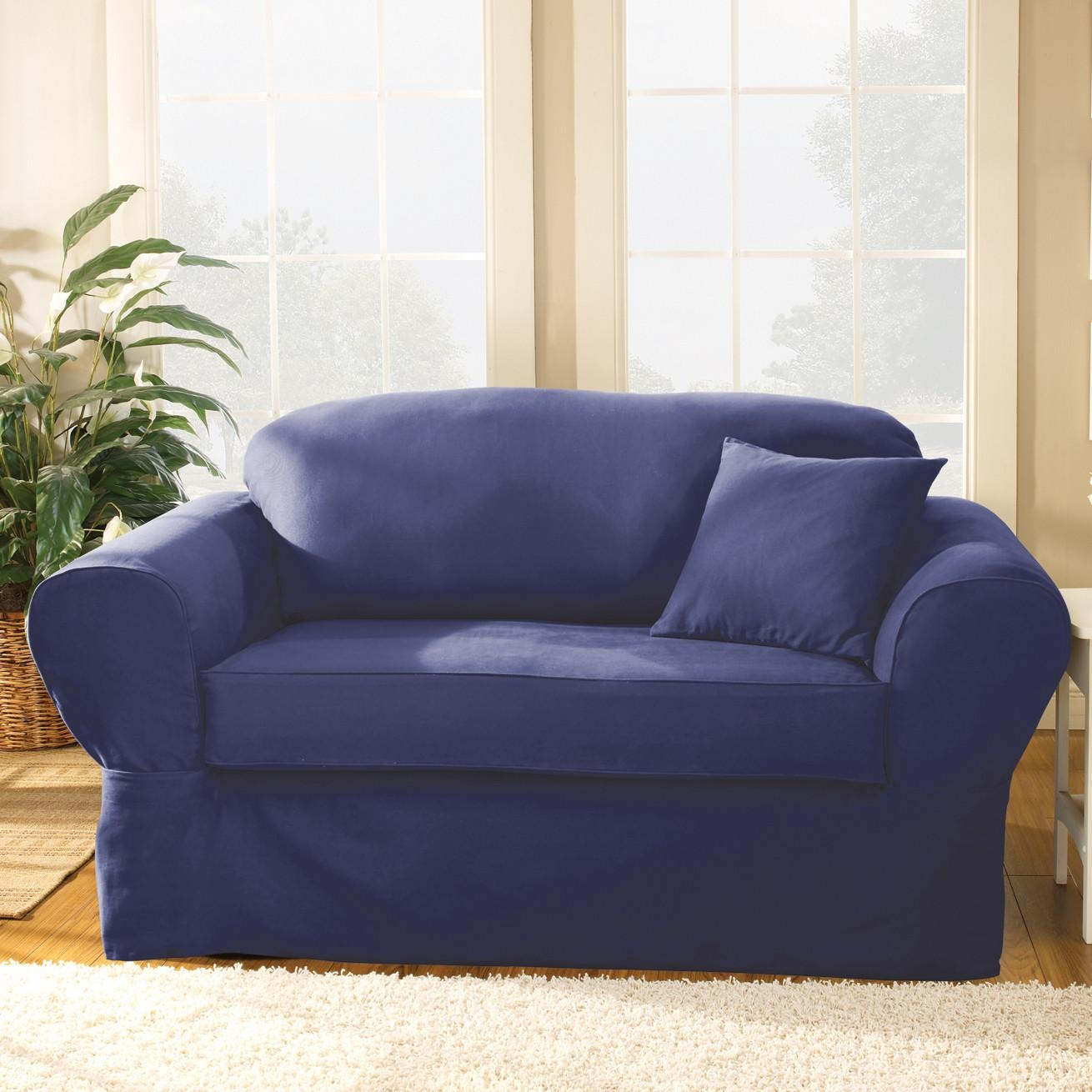 Blue Sofa Covers With Design Gallery 16308 | Kengire Throughout Blue Sofa Slipcovers (Image 1 of 20)