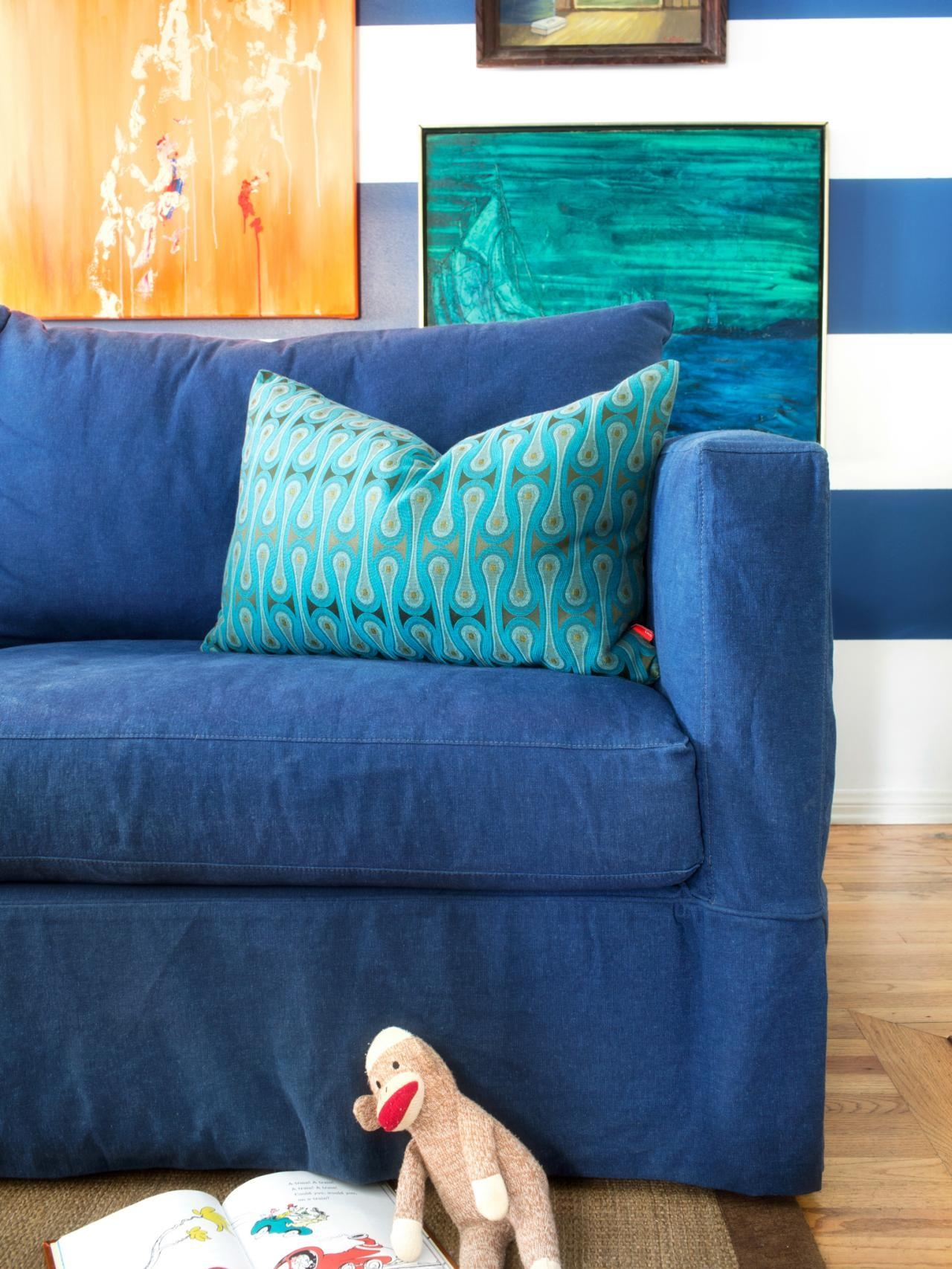 Blue Sofa Slipcovers With Concept Picture 26305 | Kengire Regarding Teal Sofa Slipcovers (Image 1 of 20)