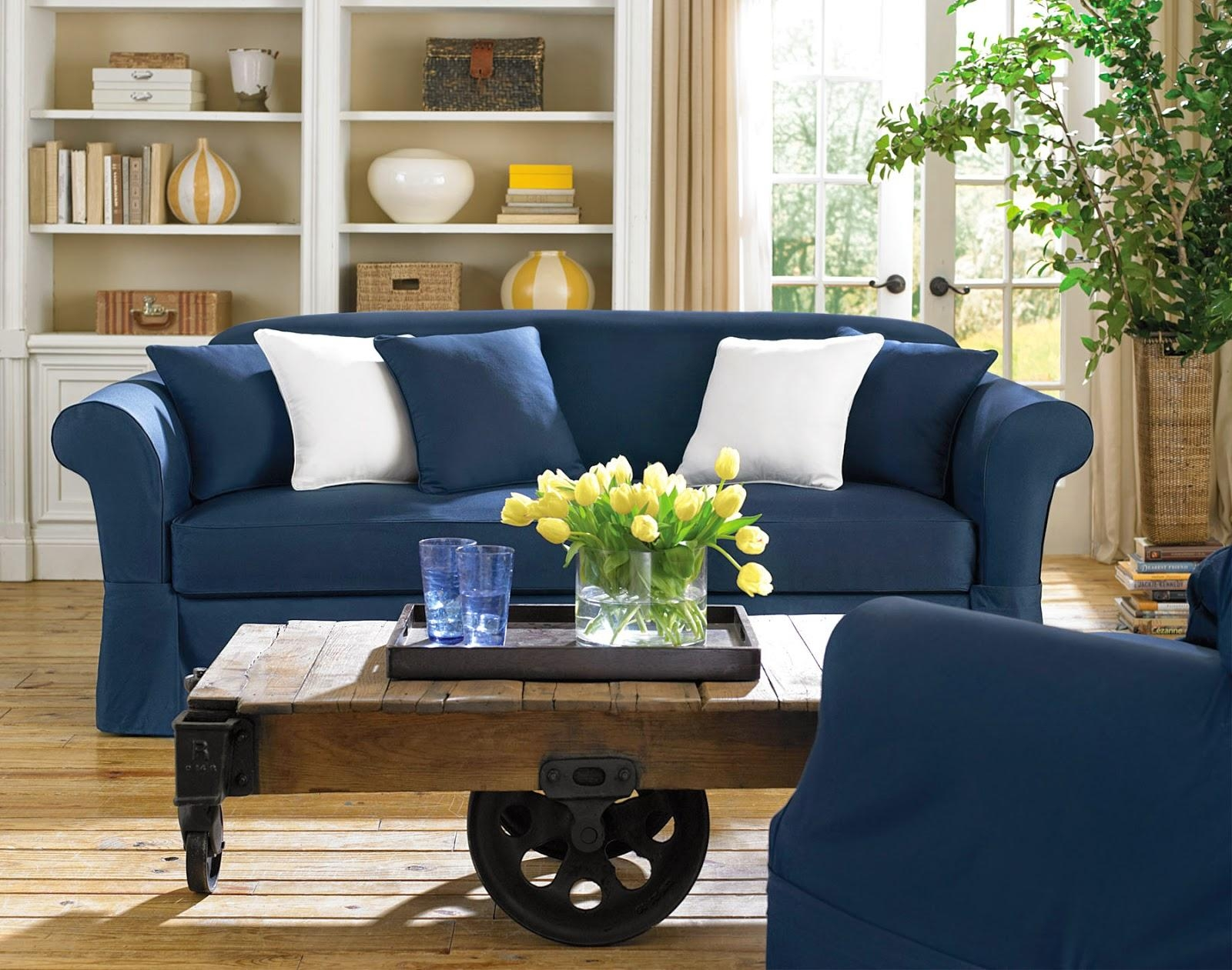 Blue Sofa Slipcovers With Design Picture 26311 | Kengire Regarding Blue Slipcovers (Image 4 of 20)