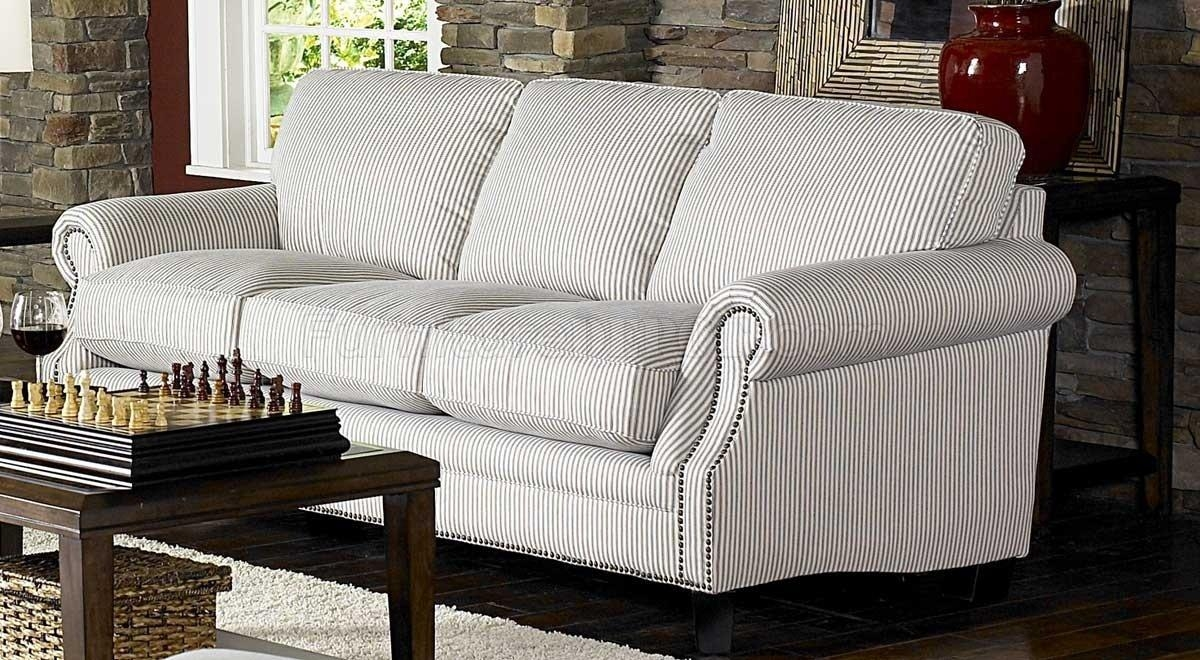 & Blue Striped Fabric Cottage Style Sofa & Loveseat Set Pertaining To Cottage Style Sofas And Chairs (Image 1 of 20)
