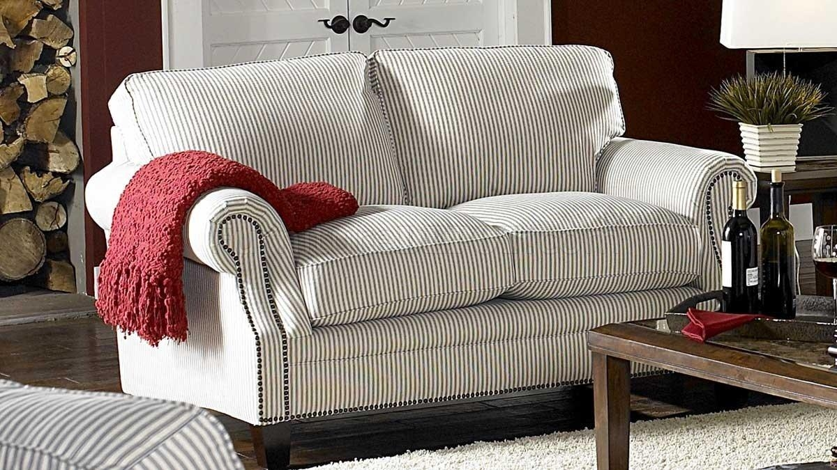 & Blue Striped Fabric Cottage Style Sofa & Loveseat Set Pertaining To Striped Sofas And Chairs (View 6 of 20)