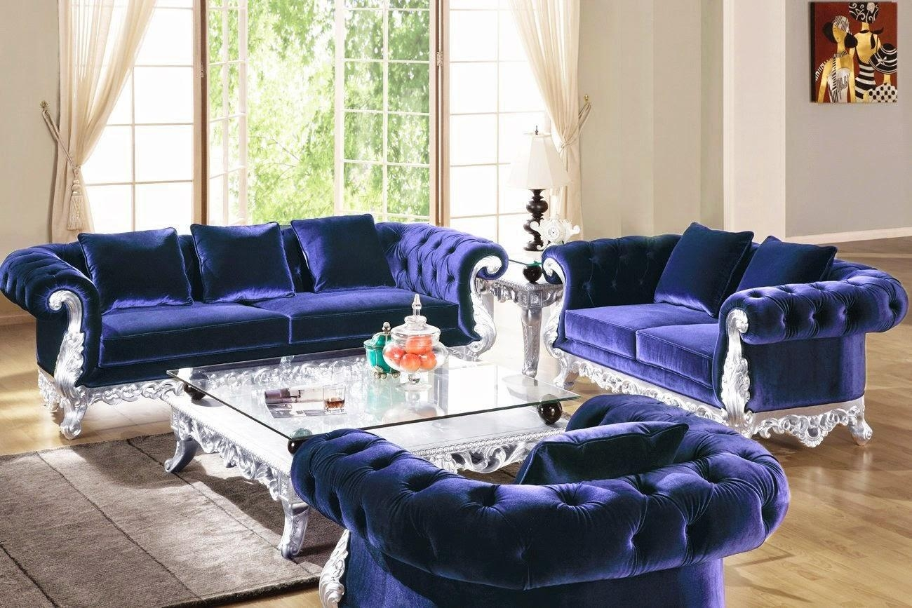 Blue Tufted Sofa | Design Your Life Regarding Blue Velvet Tufted Sofas (Image 4 of 20)