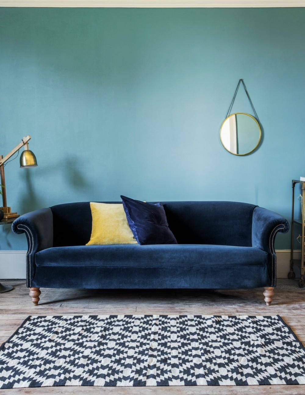 Blue Velvet Sofa In Midnight Blue Sofas (Image 8 of 20)