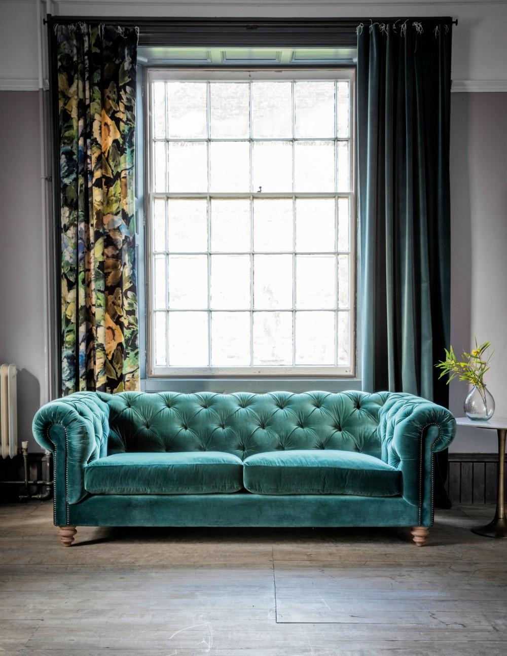 Blue Velvet Tufted Sofa | Sofa Gallery | Kengire Pertaining To Blue Velvet Tufted Sofas (Image 5 of 20)