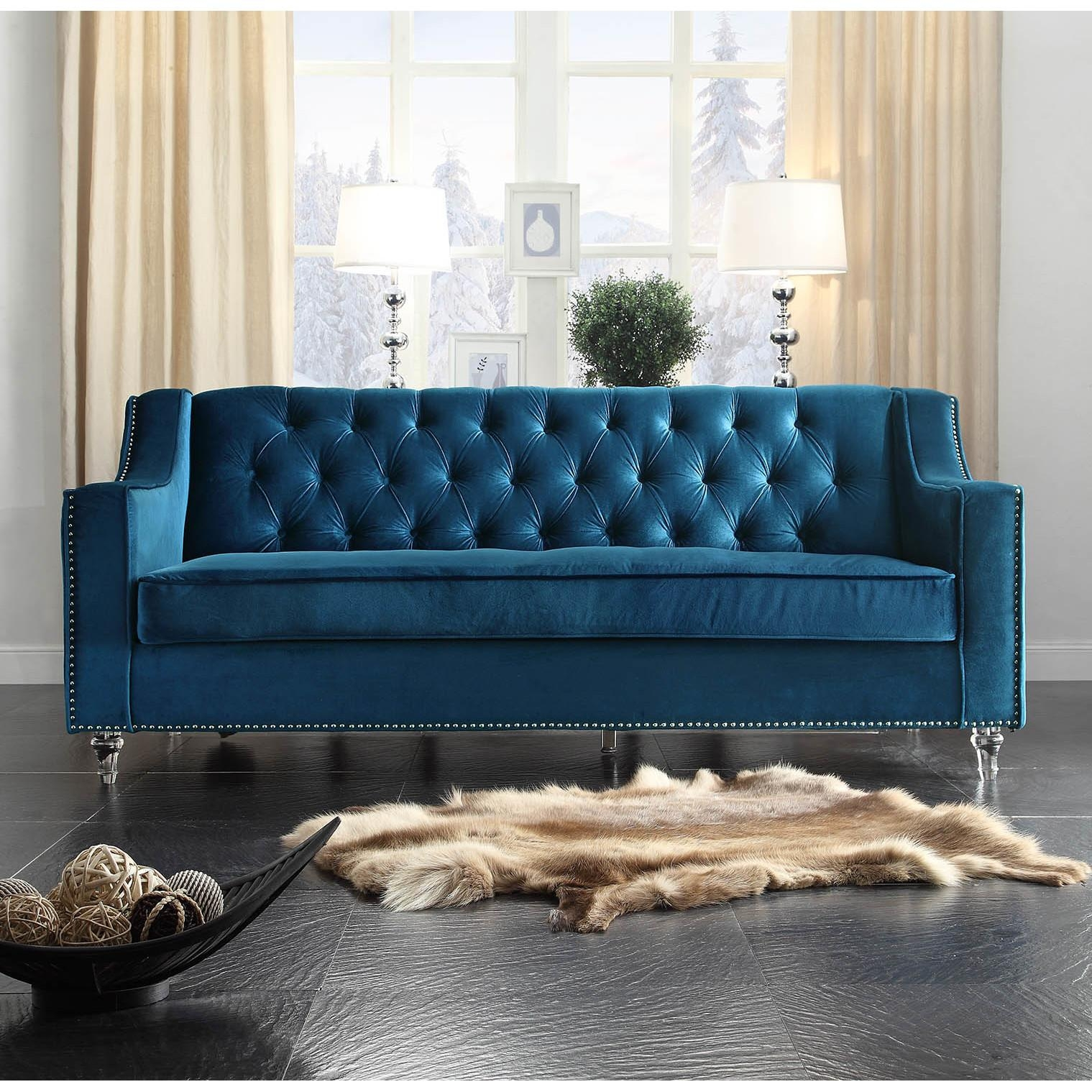 Blue Velvet Tufted Sofa | Tehranmix Decoration With Regard To Blue Velvet Tufted Sofas (Image 6 of 20)