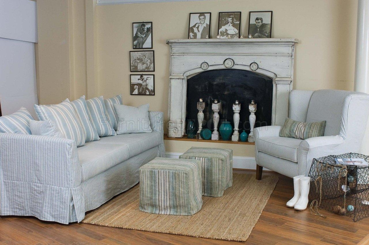 Blue & White Striped Fabric Classic Sofa & Oversize Chair Pertaining To Blue And White Striped Sofas (Image 7 of 20)