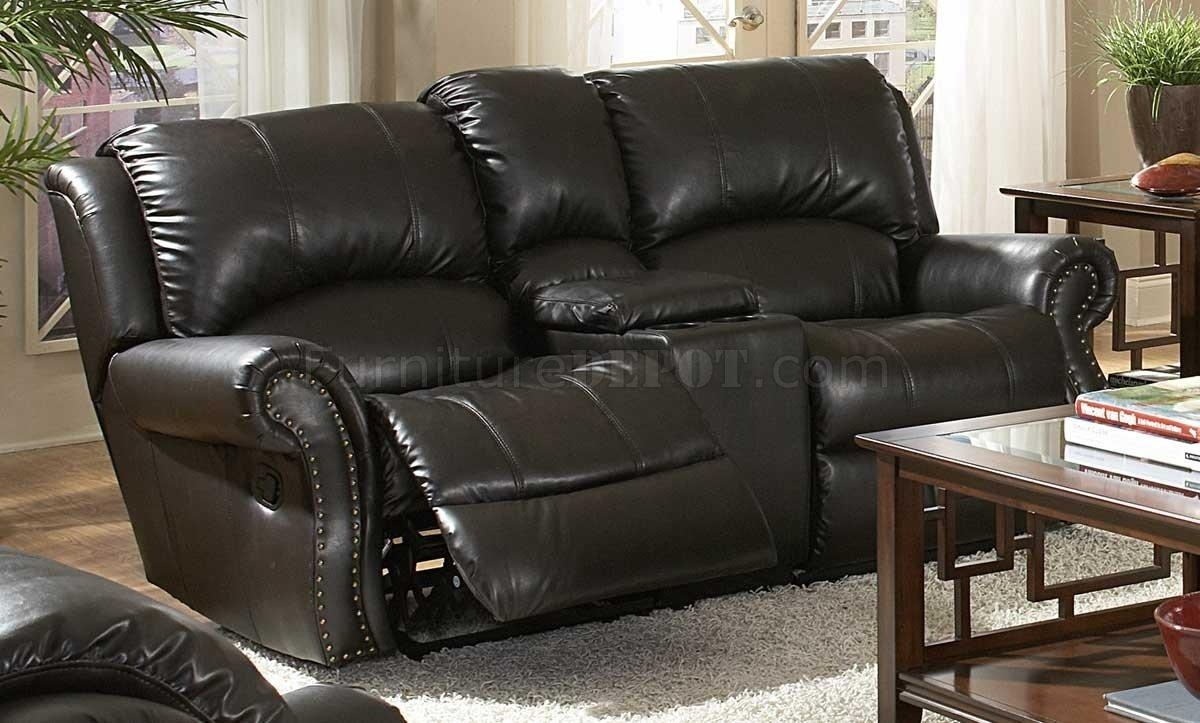 Bonded Leather Sofa & Loveseat Set W/recliner Seats In Black Leather Sofas And Loveseats (Image 12 of 20)