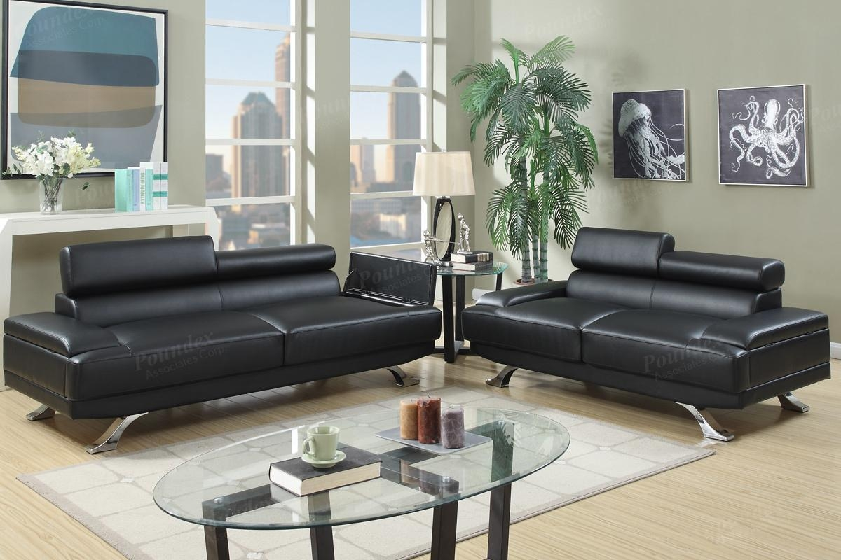 Boyn Black Leather Sofa And Loveseat Set – Steal A Sofa Furniture Inside Black Leather Sofas And Loveseat Sets (Image 12 of 20)