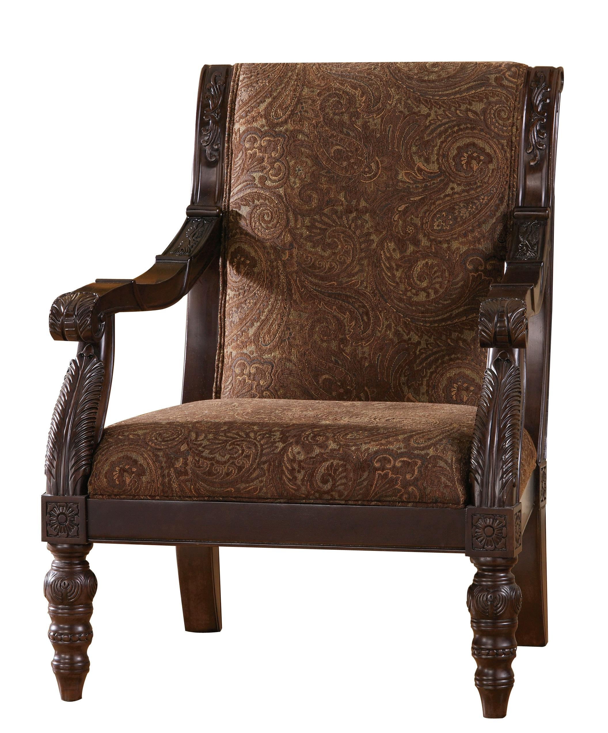 Bradington Traditional Truffle Fabric Accent Chair | Living Rooms In Bradington Truffle (Image 7 of 20)