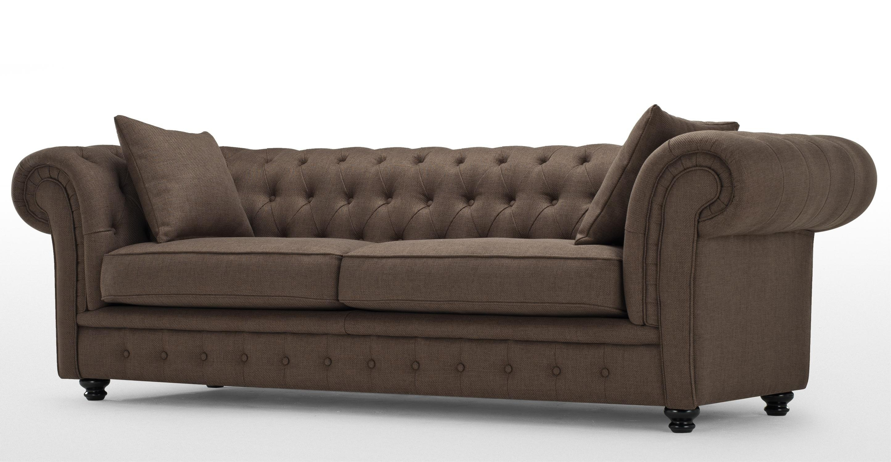 Branagh 3 Seater Brown Chesterfield Sofa | Made Regarding Chesterfield Sofas (View 9 of 20)