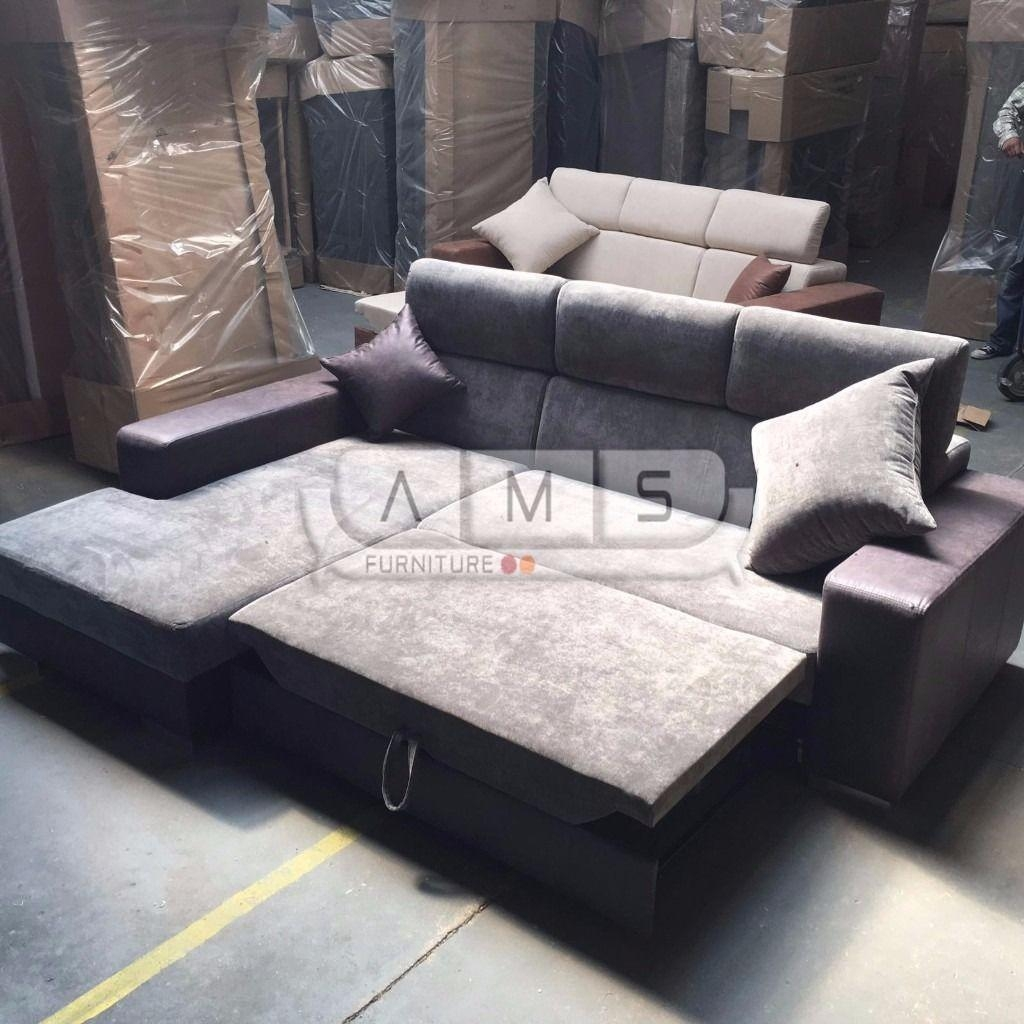 Brand New Chunky Suede Chenille Fabric Corner Sofa Bed Grey Settee With Fabric Corner Sofa Bed (Image 4 of 20)