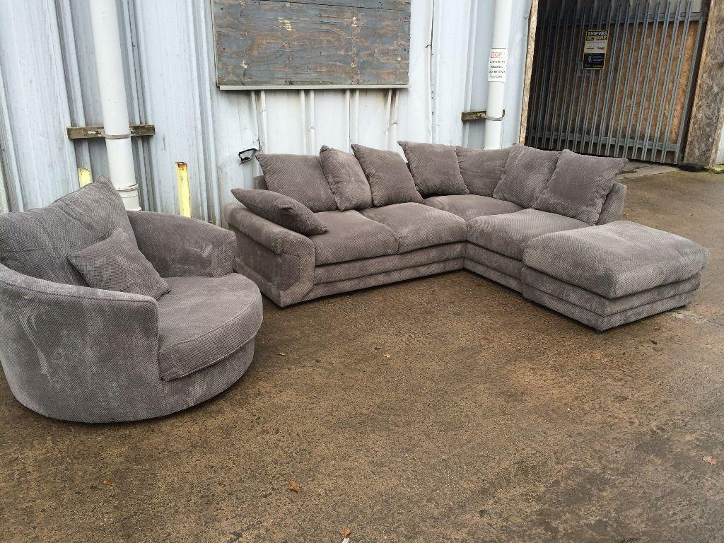 Brand New – Grey Plush Corner Sofa With Swivel Chair & Footstool Within Corner Sofa And Swivel Chairs (View 18 of 20)