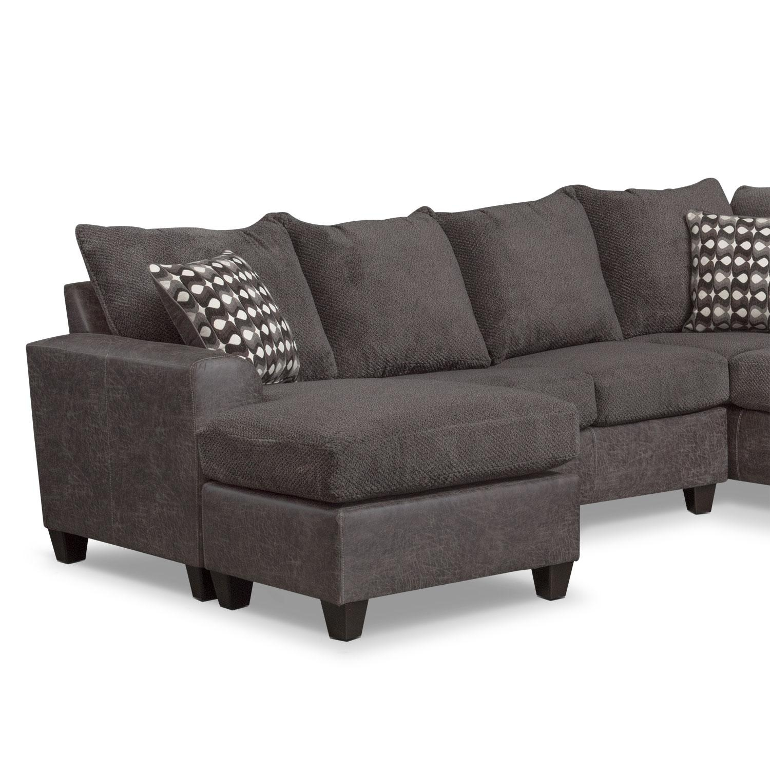Brando 3 Piece Sectional With Modular Chaise – Smoke | American With Regard To Serta Sectional (Image 8 of 20)